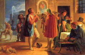 Die Maler Koch, Dräger und Führich lauschen den Pfifferari vor der Osteria Scozzese (Joseph Führich)