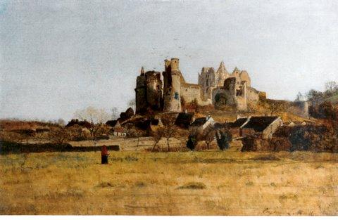 """Eugène Lavieille (1822 – 1889), """"Le château de Pierrefonds"""", Öl/ Holz, 23 x 25 cm, signiert rechts unten"""