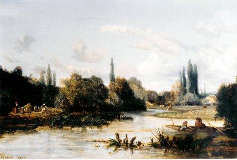 """Camille Flers ( 1802 – 1868) """"Fischer mit ihrem Nachen am Fluss"""", Öl/Lwd., 30 x 46 cm, signiert links unten und 1840 datiert"""