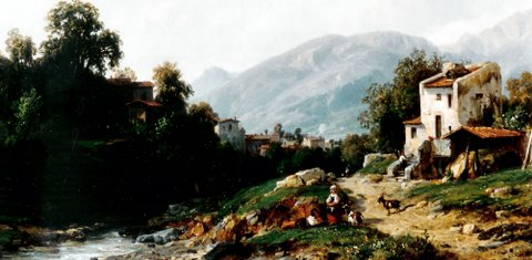 "Leon Fleury (1804 – 1858) ""Italienische Landschaft"", Öl/Lwd. 32,5 x 48,5 cm, signiert rechts unten"