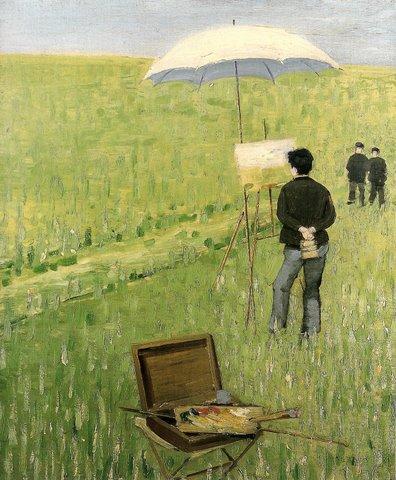 """Charles Angrand (1854 – 1926) """" Der Freiluftmaler"""" Öl/Lwd. 64 x 53 cm, signiert rechts unten und 1881 datiert"""