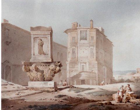 """Anne Claude Thiénon (1772 - 1846), Aquarell, 17 x 20,5 cm, signiert links unten, rückseitig bezeichnet """"Das Haus des Claude Lorrain in Rom"""""""