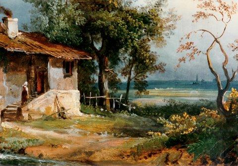 "Bildausschnitt aus: Charles Rémond ( 1795 – 1875) ""Die Schmiede"" Öl auf Leinwand, 24,5 x 32,5 cm, signiert rechts unten und 1829 datiert"