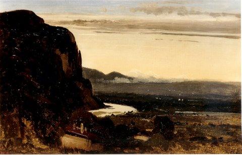 """Theodor Rousseau ( 1812–1867) """"Abendstimmung über dem Flusstal"""" Öl/ Papier/ Lwd. 20 x 32 cm, monogr. links unten und 1849 datiert"""