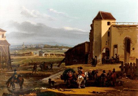 """Michel-Haman Duplessis, Frankreich, um 18oo, """"Landsknechte vor der Stadt"""" Öl auf Holz, 24 x 32,5 cm, signiert rechts unten"""