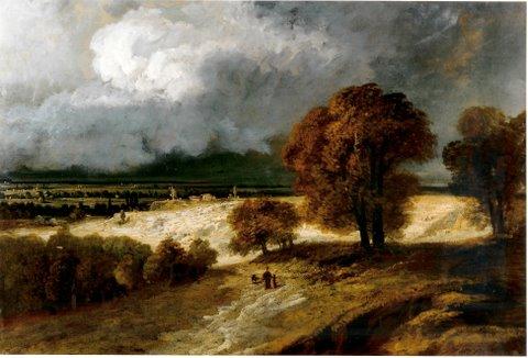 """Georges Michel ( 1763 – 1843) """"Ebene von St. Denis"""" Öl auf Leinwand, 0,61 x 91,50 m"""