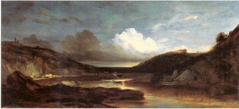 """Jules Dupré (1811 – 1889) """" Landschaft"""", Öl auf Leinwand, 20 x 41 cm - signiert rechts unten und 1833 datiert"""