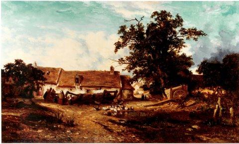 "Jules Dupré ""Bauerngehöft"" Öl auf Leinwand, 26 x 44 cm, signiert links unten, WVZ 102"