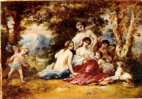 """Narcisse Diaz de le Pena (1807 – 1876) """"Nymphen im Park"""" Öl auf Holz, 36,5 x 51 cm, signiert und 1865 datiert links unten"""