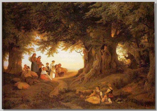 Ludwig Richter -Abendandacht im Wald