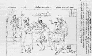 Die Malergenies Koch, Rohden, Müller, und Reinhard in einer Weinschenke (Bonaventura Genelli - I geni pittori)