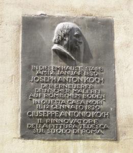 Plaquette sur la dernière maison de Koch aux Quattro Fontane