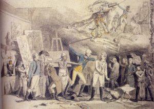 Karikatur auf die Kunstpraxis an der Hohen Carlsschule in Stuttgart, 1791, Feder in Schwarzgrau über Bleistift, aquarelliert, Stuttgart, Staatsgalerie, Graphische Sammlung