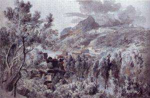 Vietri am Golf von Salerno, 1795, Aquarell und Deckfarben über Bleistift, Wien, Akademie der bildenden Künste
