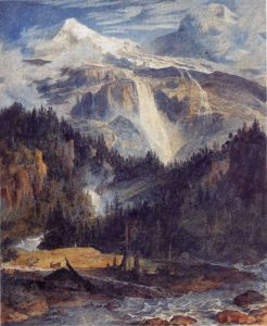 Der Schmadribachfall, 1793/94,  Aquarell über Bleistift, Feder in Braun, weiß gehöht, Basel, Kunstmuseum, Kupferstichkabinet