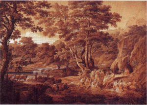 Landschaft mit Apoll unter den Hirten, 1797, Feder in Grauschwarz, Pinsel in Braun und Grau, weiß gehöht, Stuttgart, Staatsgalerie, Graphische Sammlung