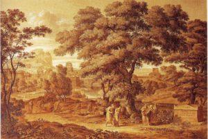 Ödipus und Antigone verlassen Theben, 1797, Feder in Braun, Pinsel in Braun und Grau, weiß gehöht, Wien, Graphische Sammlung Albertina