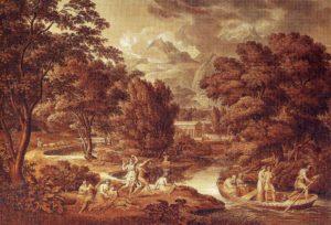 Das Goldene Zeitalter, 1797, Feder in Braun, Pinsel in Braun und Grau, weiß gehöht, Wien, Graphische Sammlung Albertina