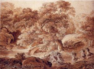 Landschaft mit dem Tod des Orpheus, 1798, Feder und Pinsel in Braun, Berlin, Sammlung der Zeichnungen in der National-Galerie (ehemals DDR)