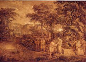 Landschaft mit Rebecca und Elieser am Brunnen,  1800, Feder und Pinsel in Braun, weiß gehöht, Privatbesitz