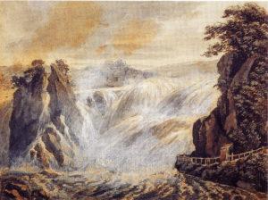 Der Rheinfall bei der Galerie und Schloß Lauffen, 1791, Feder, Pinsel, Grau und Deckweiß, Stuttgart Staatsgalerie, Graphische Sammlung