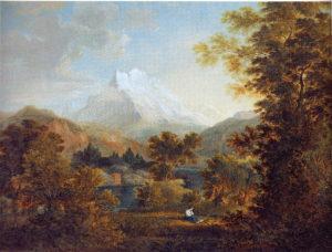 Gebirgslandschaft mit Trauernden am Ufer eines Sees, 1793, Aquarell und Deckfarben, Privatbesitz