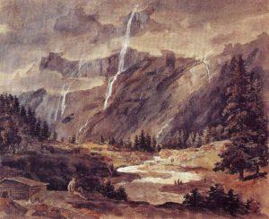 Das wolkenverhangene Lauterbrunnental, 1792/94, Aquarelle, weiß gehöht, Innsbruck, Tiroler Landesmuseum Ferdinandeum