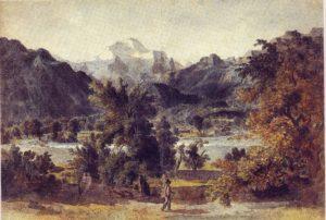 Aare Landschaft mit der Jungfrau und wanderndem Maler, 1792/94, Feder in Schwarz, aquarelliert, Bern, Kunstmuseum