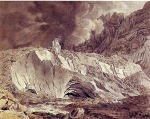 Gletscher mit Berggeist und Quellgottheit, 1793/94, Aquarell über Feder in Braun, Privatbesitz